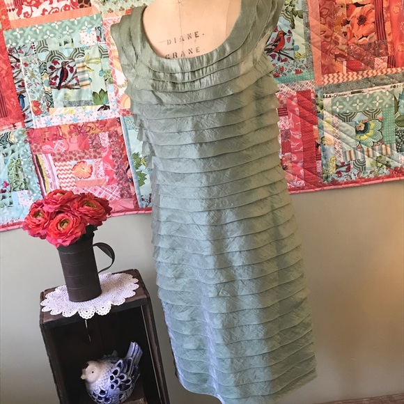Adrianna Papell Dresses & Skirts - Adrianna Papell Sheath Layered Dress in Sage